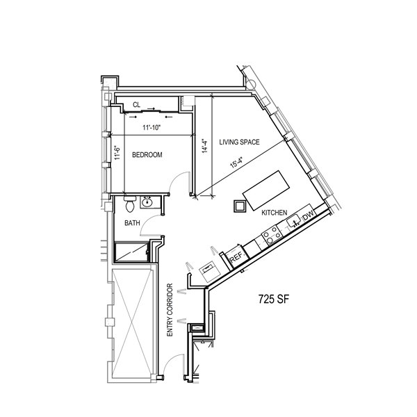 1 Bed 1 bath floor plan with large entry corridor