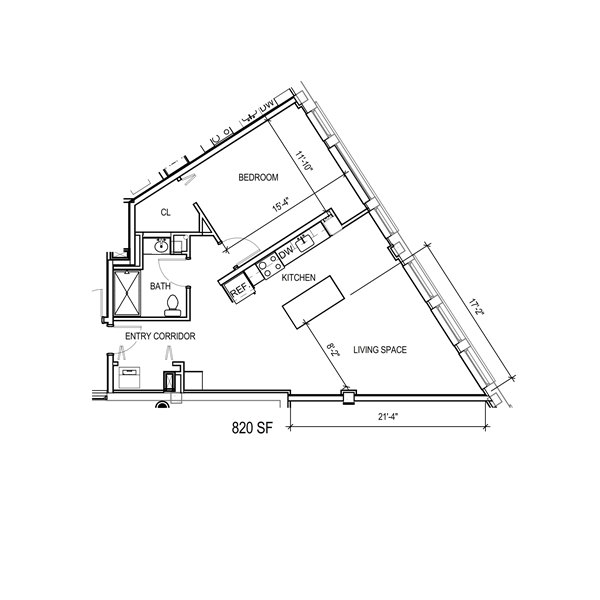 Triangle shaped 1 bedroom with walk in closet