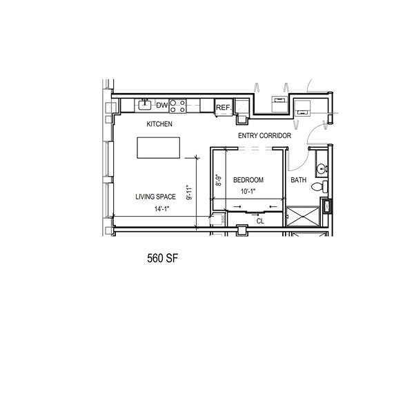 1 bedroom floor plan for rent in Milwaukee
