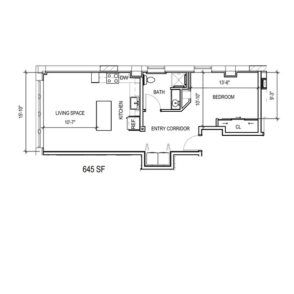 Floor plan 1j ada mke lofts apartments for Ada home floor plans
