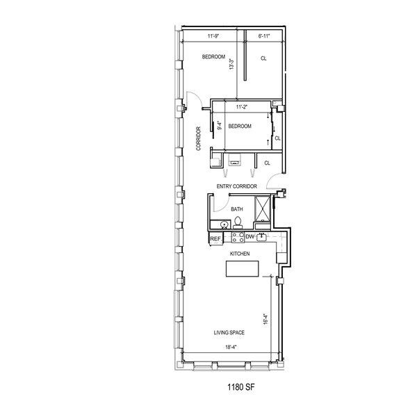 2 Bedroom walk in closet and large living area