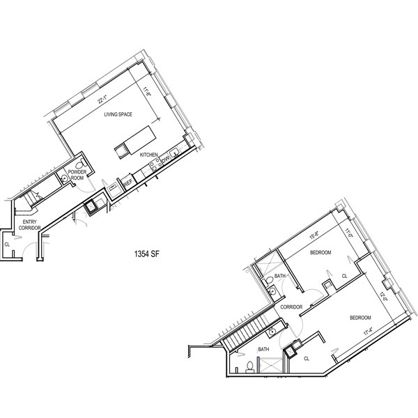 2 floor 2 bedroom apartment floor plan for rent