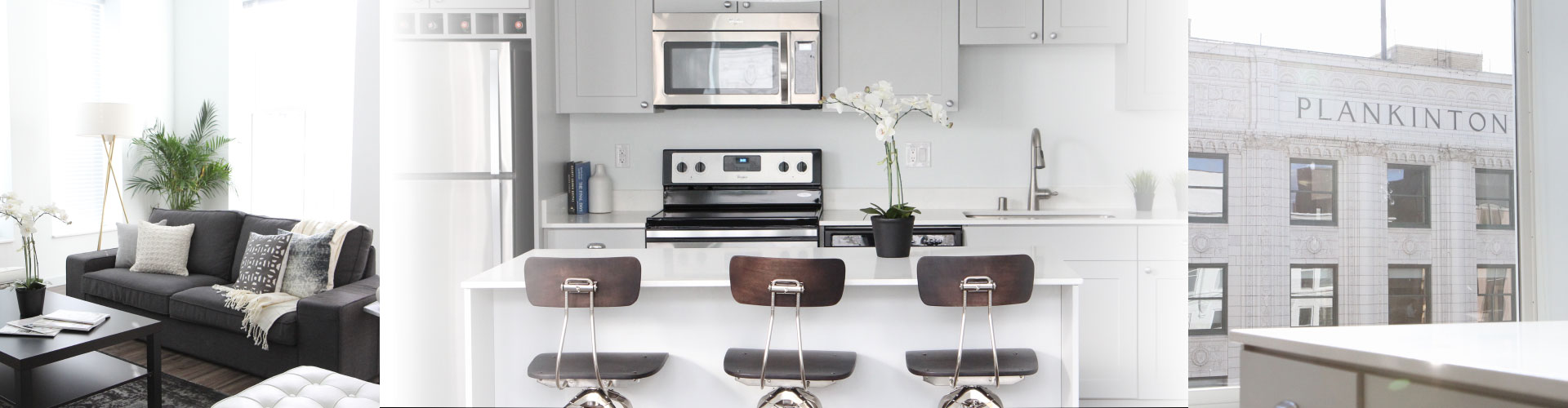 Header of Couch, Kitchen, and Building